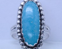 Handmade Sterling Silver Aqua Blue Smithsonite Ring size 6 to 11
