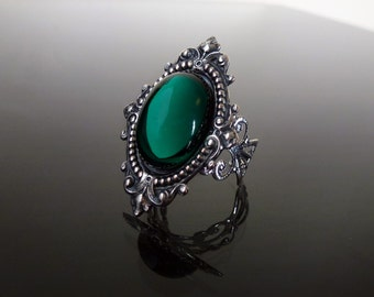 Victorian gothic ring - Emerald green ornate filigree silver steampunk adjustable ring SINISTRA