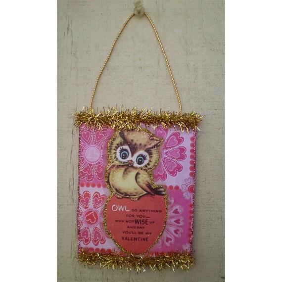 Retro owl Valentines Day decoration vintage style ornament home decor romantic gift