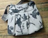Grey Linen Purse - Black Bird Bag Print Bag - 3 slip pockets - Key Fob