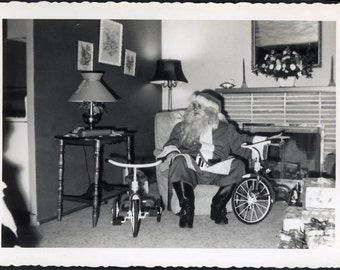 Vintage photo Christmas and Santa Claus w/out reindeer considering Trikes to Deliver Gifts