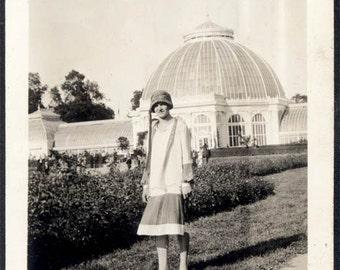 Vintage Snapshot photo 1920s Flapper Era Young Lady San Francisco Golden Gate Park Arboretum