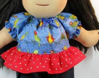 Waldorf doll clothing, peasant ruffle top and rick rack pants for 13, 14, 15 or 16 inch Waldorf doll, doll pants and shirt, Waldorf clothes
