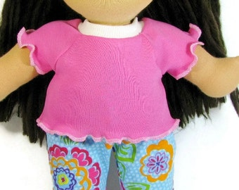 14 to 15 inch Waldorf doll top and leggings, pink doll top with floral doll leggings, pink and blue doll clothing