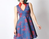 Blue cocktail dress, Blue and red dress, Blue embroidered dress, V neck dress, Floral womens dress, Flared blue dress, High collar dress