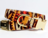 Aztec dog collar - Southwestern Collar - Brass Painted Blanket, Personalization Available