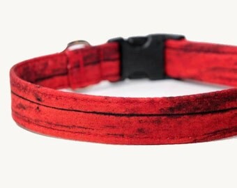 Red Dog Collar, Engraved Buckle option, Personalized Red Collar available - Red Barn
