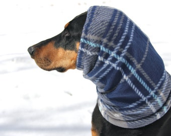 Plaid Polarfleece Snood for Large Dog - Blue Plaid - Dobersnood - Dog Snood