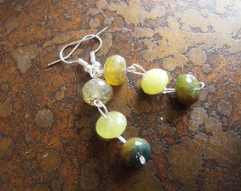 Murky Waters Rainbow Agate Beaded Dangle earrings