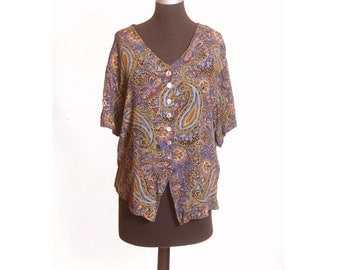 Vintage 1990s Paisley Abalone Button Up Blouse size 10