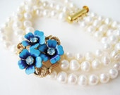 Pearl Bracelet, Blue Flower Accent, Vintage Blue Rhinestone, Three Strand Bridal Jewelry, Gold Slide Clasp, White Pearl, Something Blue
