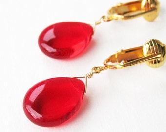 Bright Red Teardrop Clip On Earrings, Cherry Red Glass Teardrop Clipons, Gold Ear Clips Simple Scarlet Dangle Clip Earrings, Cherry Drop