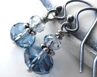 Tiny Blue Crystal Earrings, Small Sky Blue Crystal and Sterling Silver, Something Blue Wedding Jewelry, Winter Wedding, Christmas Jewelry