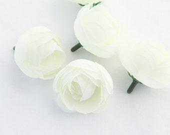 5 MINI Ranunculus in White - silk artificial flower, millinery flower, small flower - ITEM 0696