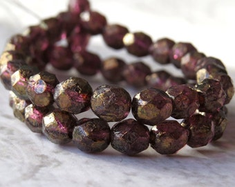 Amethyst Copper Stone Picasso Czech Glass Bead 6mm Firepolish  Faceted Round Bead : 25 pc Amethyst Copper Round Beads