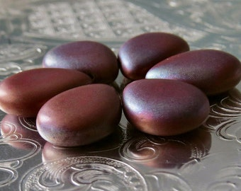 Matte Red Bronze Vega Czech Glass Bead 12mm x 16mm Pear Shape Drops : 6 Red Briolette Drops
