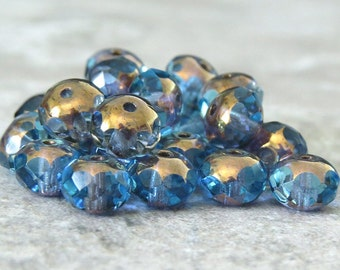 Aqua Gold 6x4mm Czech Glass Faceted Rondelle : 12 pc Aqua Rondelle