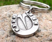 Horseshoe Keychain, Horse Hoofprint Key Ring, Horse Hoof Keychain, Farrier Gift, Horse Lover Gift, Detailed Shod Hoof Print