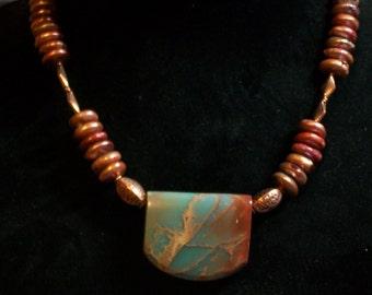 Impression Jasper, Coin Pearl and Copper Necklace (882)