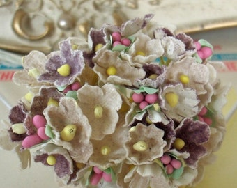 Forget Me Nots / Vintage Millinery / Aged White and Muted Plum / One Small Bouquet