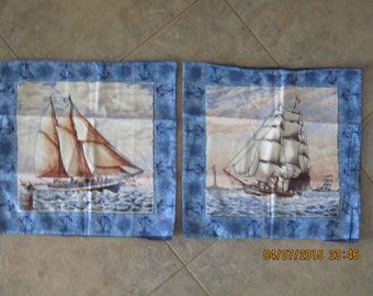 Ports of Call Sailboats Unstuffed Pillow Set  - Clearance Sale 30% Off *
