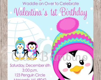 Penguin Birthday Party Invitation / PRINTABLE Winter ONEderland Birthday Party Invitation for Girls / Winter Wonderland / You Print - 002