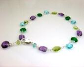 Amethyst, Green Onyx,  Apatite, Emerald and Peridot Bracelet