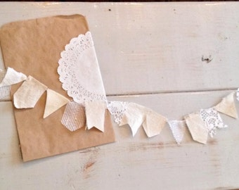 SIMPLE + NATURAL scrappy garland. ivory. tan. lace. burlap. In stock + ready to ship