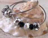 Titanium Earrings - Black and Silver Earrings - Hypoallergenic Earrings for Sensitive Ears - Glass Bead with Titanium Wire - Hoop Earrings