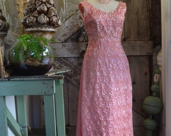 1960s pink ball gown 60s sequin maxi dress size medium Mike Benet Vintage beaded gown