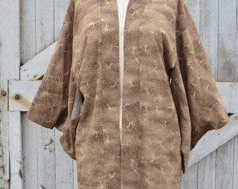1960s cocoa brown kimono 60s cropped Asian jacket size medium Vintage Japanese robe