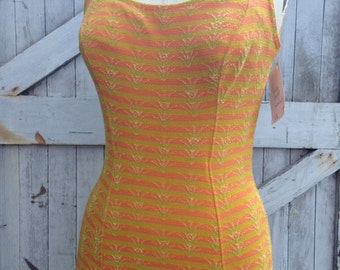 1950s yellow swimsuit 50s jantzen bathing suit size medium Vintage yellow and orange maillot