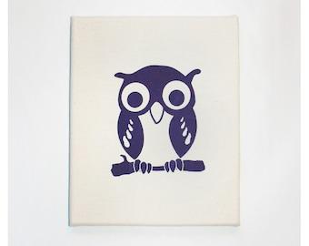 Owl Canvas Print (8x10'') Owl Screenprint Wall Art