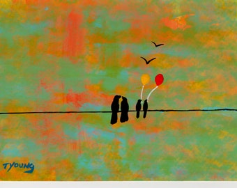 Birds on a Wire crow raven Balloons original art painting by Todd Young 5x7 or BEST OFFER