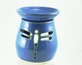 Diffuser Aromatherapy Blue Dragonfly Luminaria  - 2 part diffuser tea light candle holder