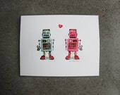 Retro Tin Toy Robots Letterpress Poster Print • Tin Toy Robot Love • Room Decor • Poster • Wedding Gift • 8.5x11• Ink Petals