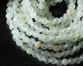 Full Strand, Light Green Prehnite Faceted Round Beads, 4MM