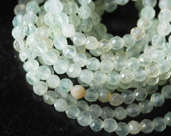 Half or Full Strand, Light Green Prehnite Faceted Round Beads, 4MM