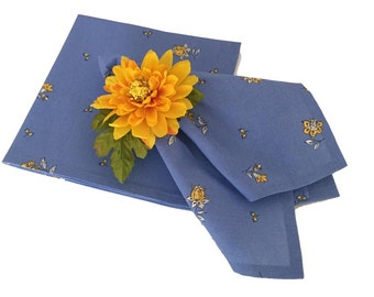Blue and Yellow Napkins, French Provence Napkins, Floral Napkins