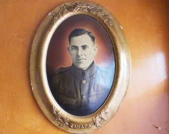 Antique Portrait in Gilt Wood Frame, Canadian Army Soldier, Large Gold Frame. Military Color Tint Black & White Photograph, Odd Portrait.