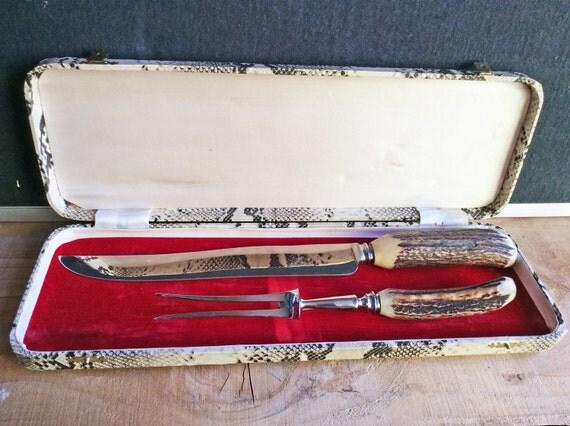 Deer antler carving set handle knife and fork in box