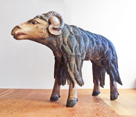 Big carved wooden animal statue horned sheep wood ram java