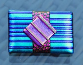 Large Dichroic Glass Brooch - Funky Bright Colours with a Sterling Silver Pin Fitting - Turquoise Blue Pink Oblong Square Stripes - Gift Box