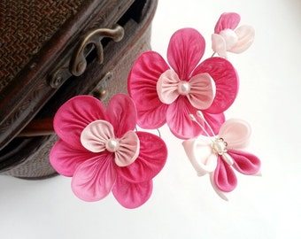Silk Moth Orchid Kanzashi Flower Hair Stick
