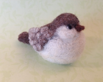 Needle Felted - Needlefelting - Bird - Brown - Cream - Felted - Needlefelted Bird