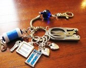 Knitter's Chatelaine: The Doctor - Doctor Who Stitch Markers, Row Counter & Folding Scissors on a Decorative Clasp