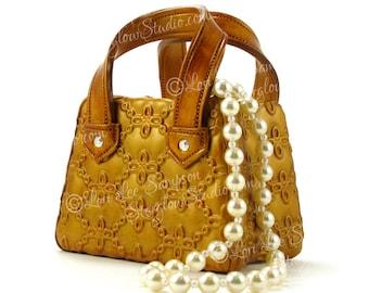 Digital Download Gold Purse & Pearls Clipart Photo | Stock Photo of Original Polymer Clay Sculpture | Handbag | Rhinestones