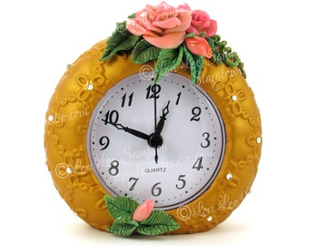 Digital Download Gold Clock | Pink Roses Clipart Photo | Stock Photo of Polymer Clay | Table Top Clock with Rhinestones
