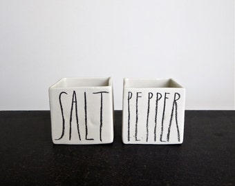 square sketch SALT and PEPPER cellars.