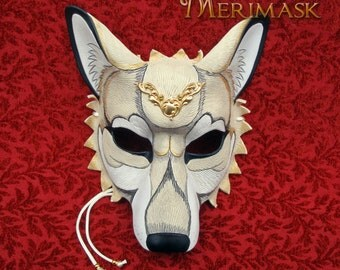 FREE SHIPPING in the USA  Regal Ivory Winter Wolf Mask... handmade leather mask masquerade Halloween costume mardi gras burning man